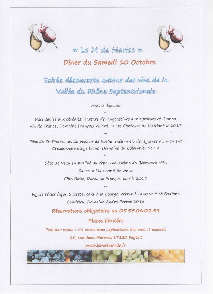 Soirée accord mets et vins Samedi 10 Octobre